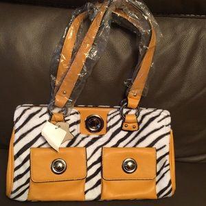 Vintage Tiger Stripes yellow Handbag/ makeup case